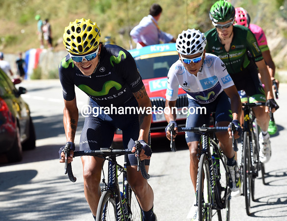 Anacona Winner has dropped back from the Hesjedal escape to collect and pace Quintana - what brilliant tactics..!