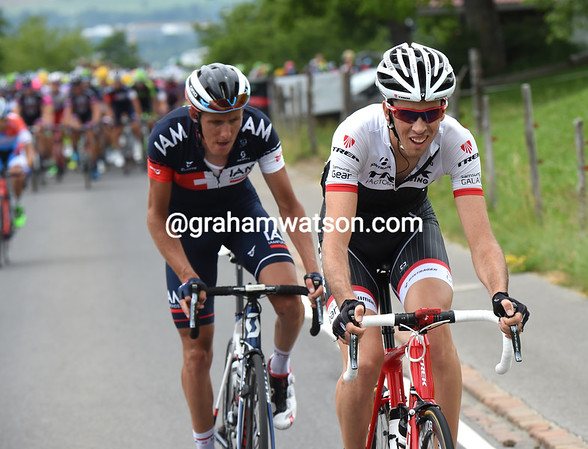 Laurent Didier is on the attack with Jerome Coppel...