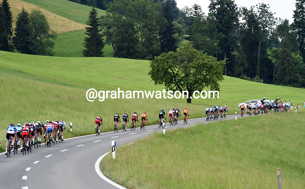 The Michaelskreuz ascent has split the peloton into many pieces with 30-kilometres to go...