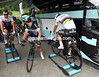 Michal Kwiatkowski is warming up on some old-fashioned Tacx rollers - Mark Cavendish is off to borrow some from Astana..!