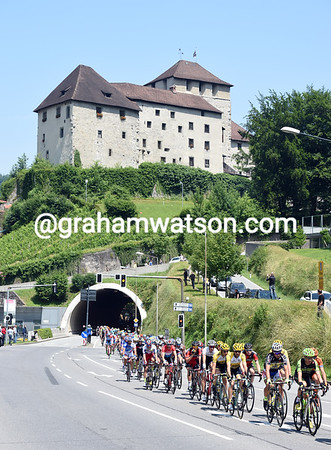The peloton is nine minutes down as it passes through Feldkirch in Austria...