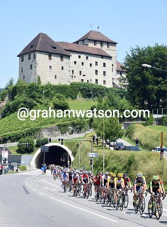 The peloton is nine minutes down as it passes through Feldkirch in Austria...