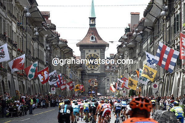 Stage eight of the Tour de Suisse flies through the centre of Bern on its way out into the countryside...