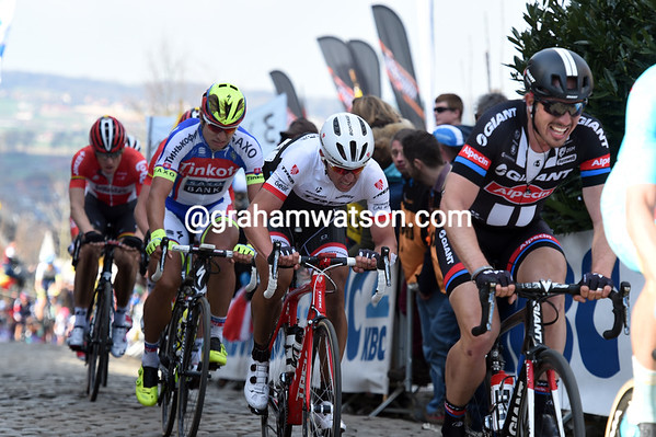 The pain shows on Degenkolb's face, as it does with Devolder and Sagan too...