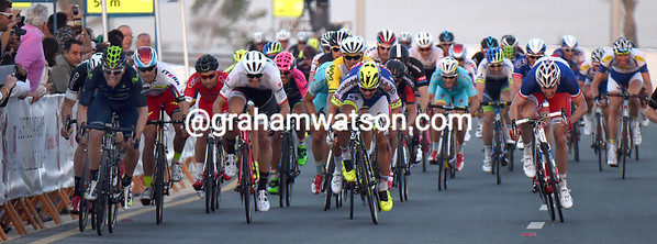 The sprint shows about 10 riders in with a chance across the width of the road...