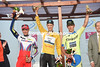 Niki Terpstra celebrates his second-consecutive Tour of Qatar win with Maciej Bodnar and Alexander Kristoff...