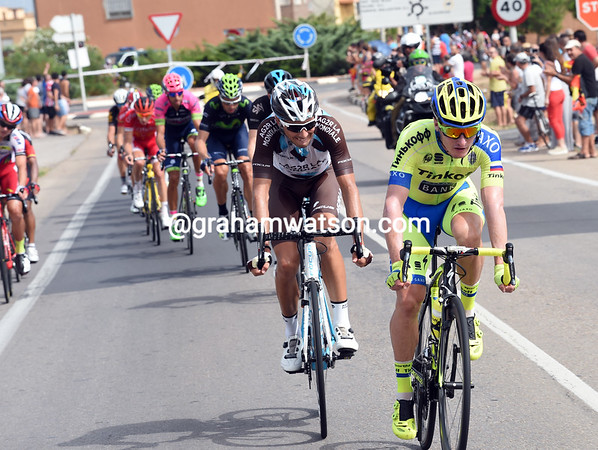Jay McCarthy leads a split at the front, but everyone is about to be caught...