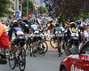 A crash has happened on a roundabout a few kilometres after the start...
