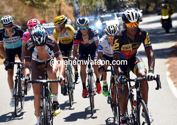 Natnael Berhane is in the escape and looking good on the main climb...