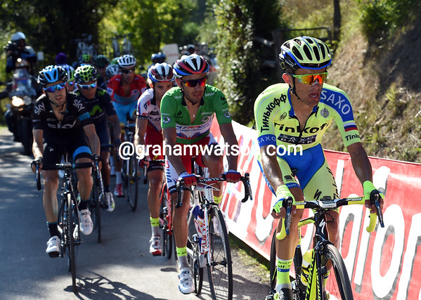 Rafal Majka is at the front, ahead of Rodriguez and Nieve...