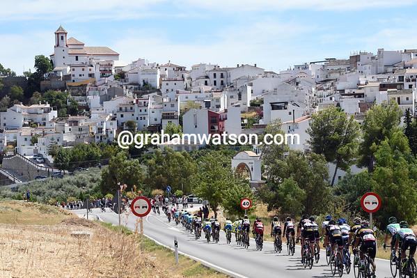 An Andalucian village greets the speeding Vuelta peloton...