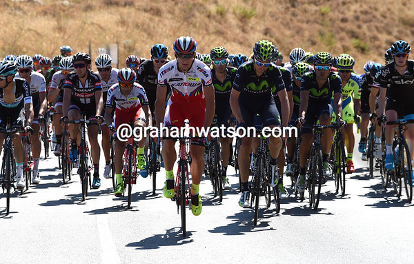 Katusha and Movistar lead the peloton, but a huge crash had made this a peloton of just 50 riders...