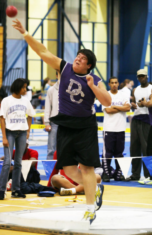 This Deep Creek shotputter comes in second place on this throw that was launched with no movement through the circle.