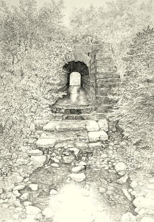 """""""The Trestle- Big Brook, Cape Breton""""<br /> 17 7/8""""  x 23  3/4""""  framed<br /> drawing"""
