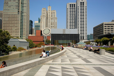 Promenade at Yerba Buena Gardens with the roof of SFMOMA in the middleground.