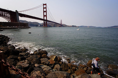 Fishing off Fort Point.  GG Bridge and Marin headlands in the background.