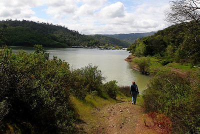 Michelle walking down to waterline at Lake Sonoma.  We were staying in Healdsburg when we visited here.