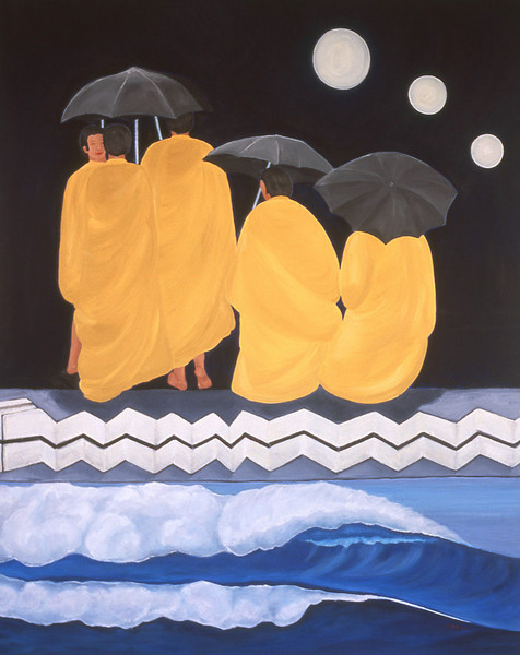 04-02-150 Monks with Umbrellas, Night<br /> 60x48, Oil on canvas on wood panel<br /> Original available.<br /> Also available as giclee on watercolor paper or canvas.