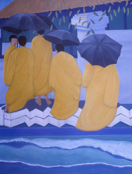 99-02-149 Monks with Umbrellas, Day<br /> 60x48, Oil on canvas on wood panel<br /> Original available; also available as giclee.