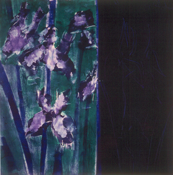 91-04-029 Irises<br /> Original image 17.5x17.5<br /> Double dropped monotype<br /> Available as 16x16 up to 40x40 giclee.