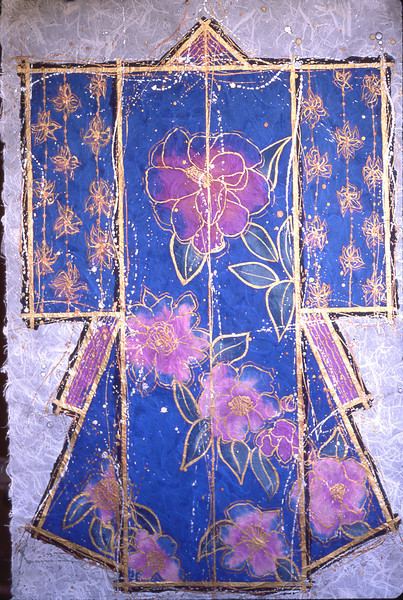6836 Kimono<br /> 36x26 Watercolor on rice paper<br /> Available as 36x26 or 38x28 giclee.