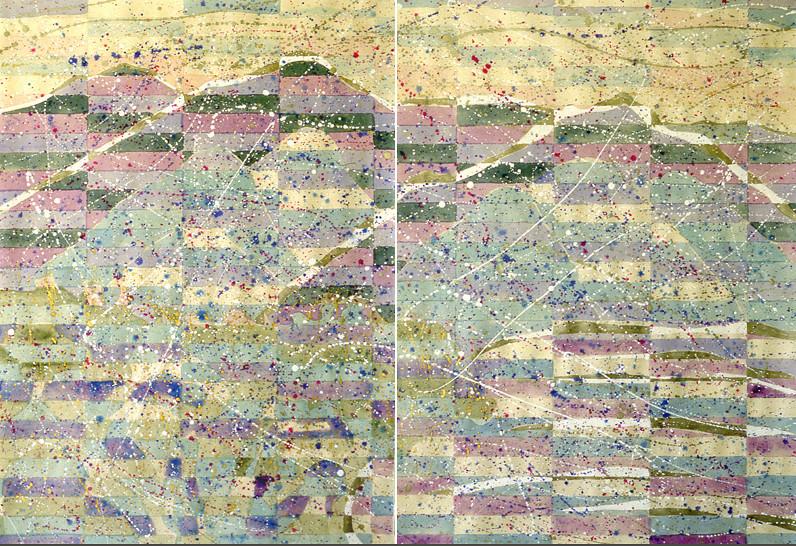 #6219a&b - Tigullio Dusk<br /> 34x25 each, watercolor and gouache on rice paper<br /> Available as 2-part giclee, each 40x30 bleed.