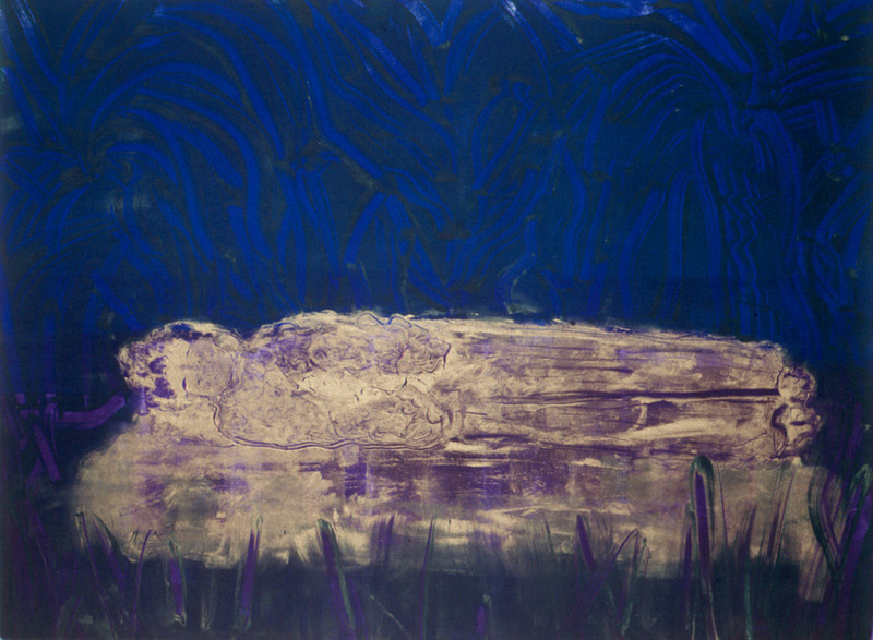 93-04-151 Sleeping Buddha<br /> Original image 17.7x23.7 <br /> Double dropped monotype<br /> Available as 18x24 or 27x36 giclee.