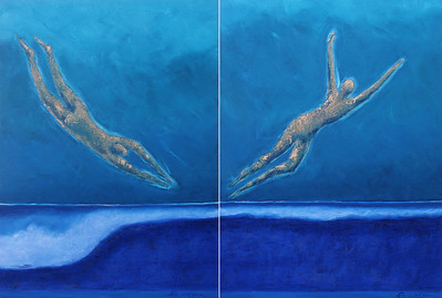 Oceans I: Descend; Ascend. 40x30 each, Oil on Canvas. Originals available, or as giclee on watercolor paper or canvas.  Reproductions should be custom made of each piece separately. See page 3 of this gallery for individual images.