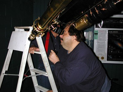 Joe Begandy at the eyepiece of the historic 11 inch Brashear Telescope. Located in Deer Lakes Park, Russellton PA.