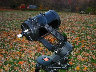 An 8 inch Celestron with star bright coatings and factory Byers Drive getting ready to look at Mars.