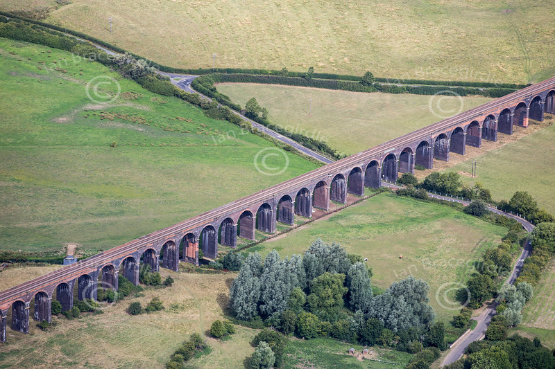 Aerial photos of Harringworth viaduct in Northamptonshire.