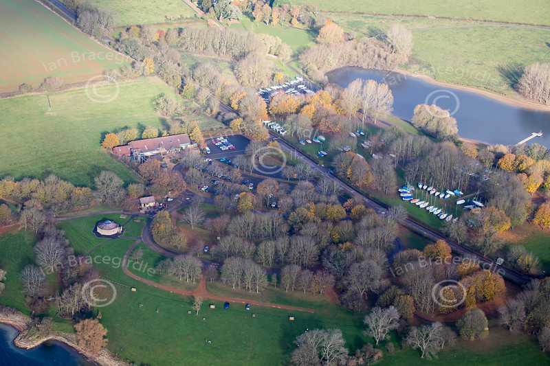 An aerial photo of Rutland Watersports centre.