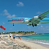The beach (Maho Bay) is at the end of the runway in Sint Maarten.