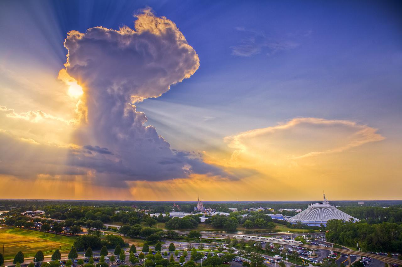 Sunburst cloud over the Magic Kingdom, Disney World