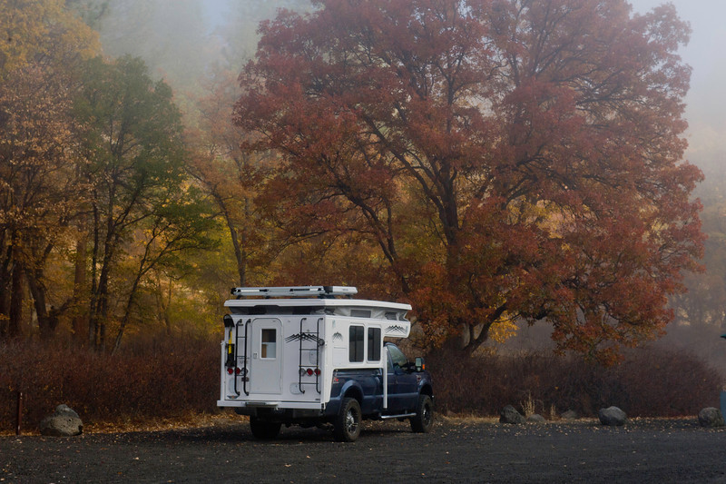 Camping at the NFS campground on the Pitt River near Canby, California. Fall color and a small waterfall. Primitive campground with vault Toilets. $4/night