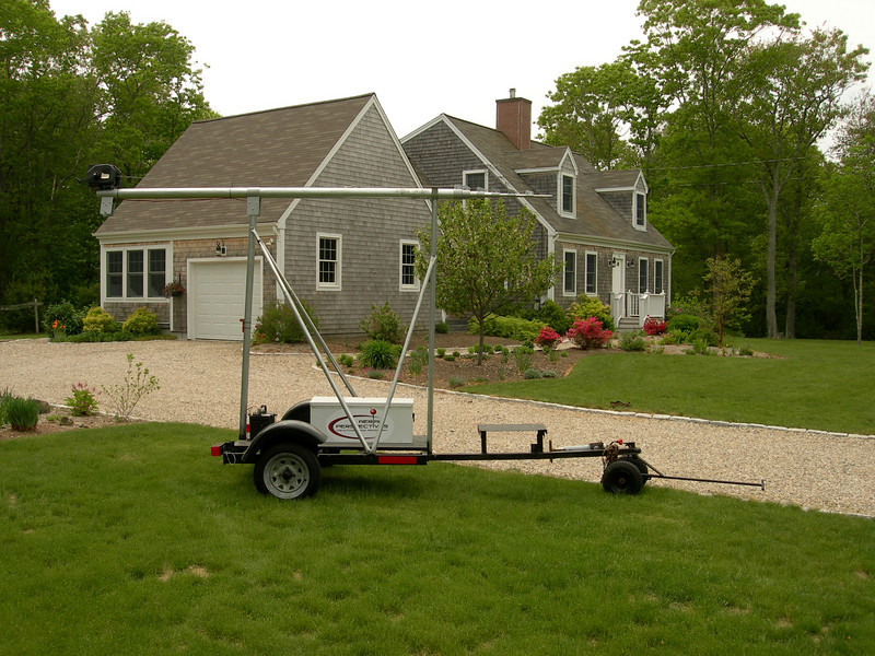 Our Telescopic Mast In The Travel Position. Light enough to be wheeled around your property by hand with no damage to your landscaping.