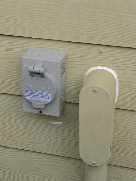 New exterior generator receptacle next to main power conduit