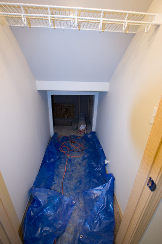 Storage space under the stairs and access to crawl space