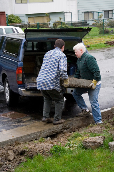 Steve gave us a hand removing the concrete blocks.  We loaded about 1200 lbs worth of 200-300 lb blocks into his poor littled over-loaded truck.