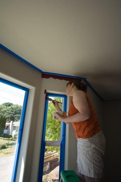 Sarah cutting in the window