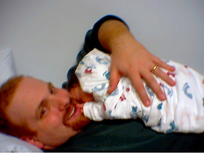 Riley Katz and proud papa Andy.  (March 2004)