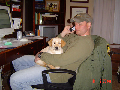 Brian and Bogie  Ain\'t this great ! I wonder if he\'ll let me up here when I\'m full grown