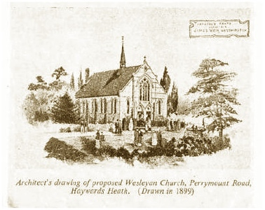 The proposed church (1899). The exterior of the building remained virtually the same until 2001, except for the spire.