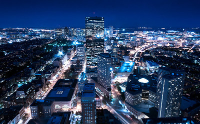 boston at night, as seen from the prudential tower