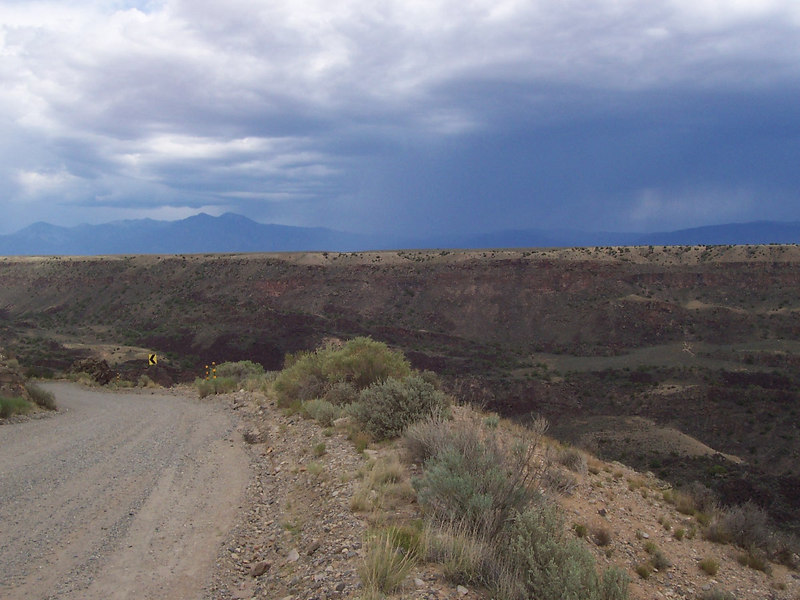 A thunderstorm across the Rio Grande Gorge near Taos. We drove down into the gorge from the west near Ojo Caliente and emerged on Hwy. 68 in Pilar.