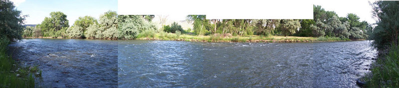 Panoramic view of the Rio Grande as it runs by the house.