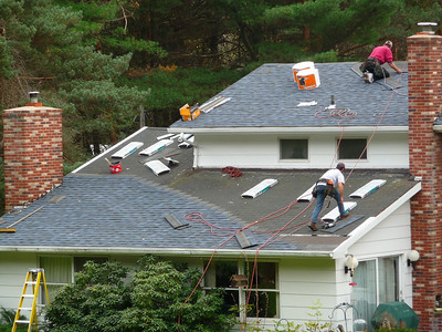 Our house getting re-shingled