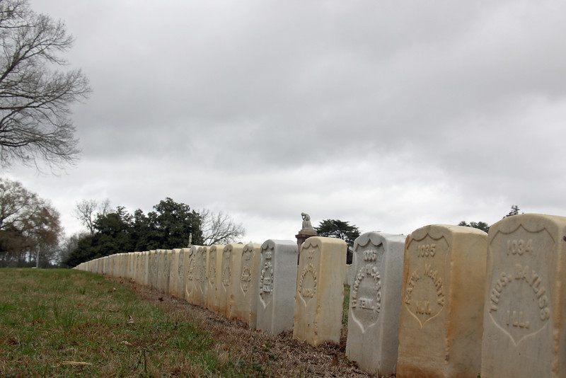 Grave markers at the Andersonville National Cemetery