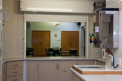 The Kitchen - serving hatch through to the Community Room