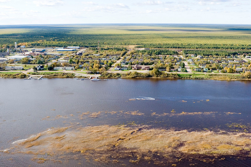 Aerial photograph I took Oct 1 2005. showing the river and much of Moosonee.